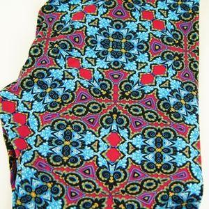 Lularoe TC Leggings Blue Red Mosaic Kaleidoscope